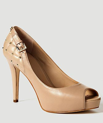 Huali Leather Open-Toe Buckle Shoe from Guess