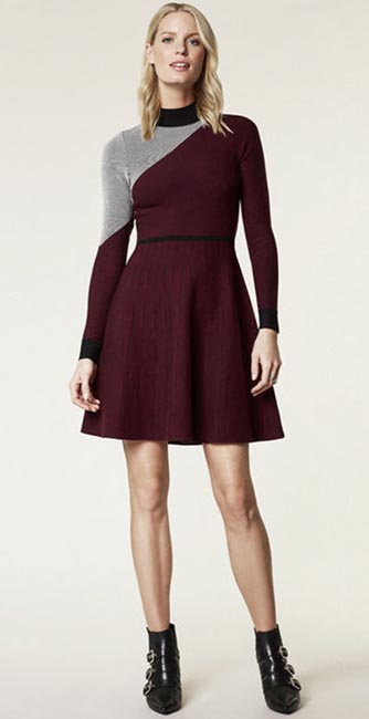 Front view of this Ribbed knit skater dress from Karen Millen
