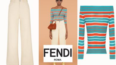 Beige trousers and pullover from Fendi