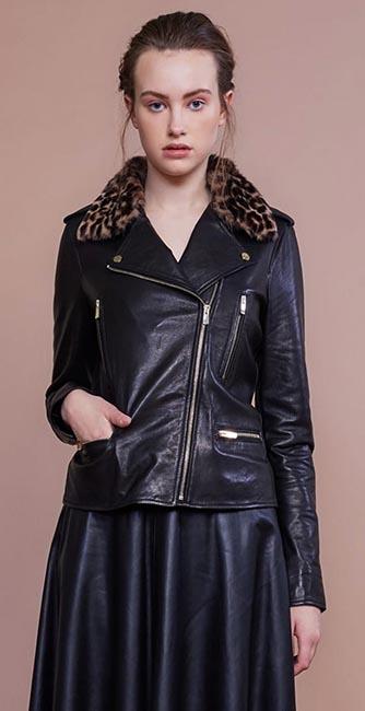 Black Leather Biker Jacket from designer Umit Kutluk