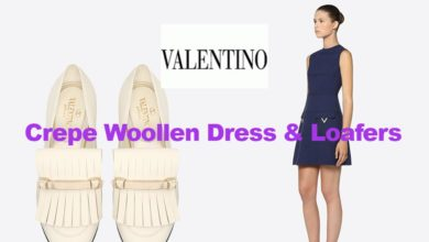 Latest fashion wool dress and loafers from Valentino