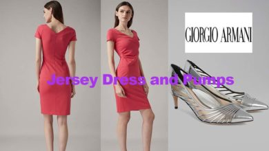 Jersey dress and wet look pumps from Giorgio Armani