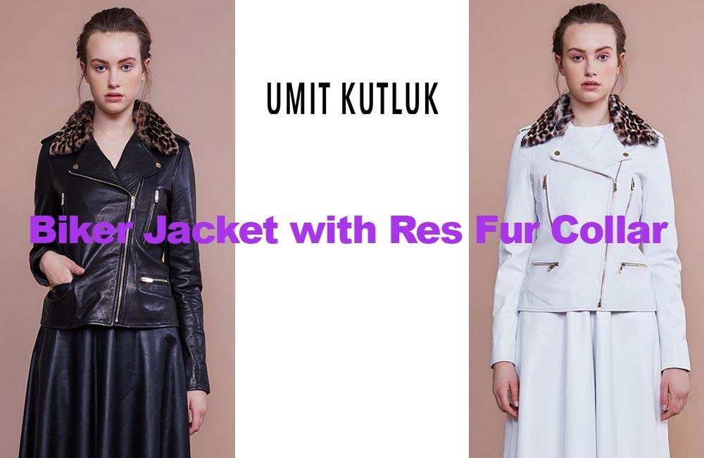 Leather biker jacket from designer Umit Kutluk