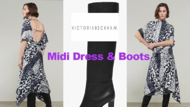Midi dress and boot from Victoria Beckham