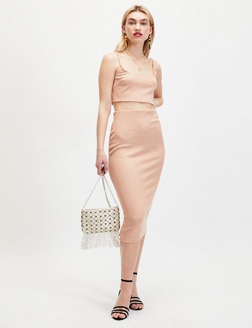 Pink Glitter Midi Skirt from Miss Selfridge