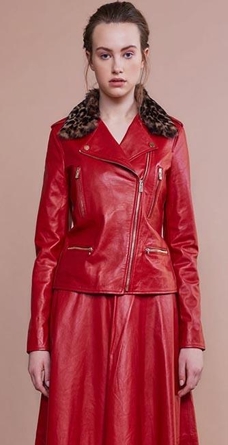 Red Leather Biker Jacket from designer Umit Kutluk
