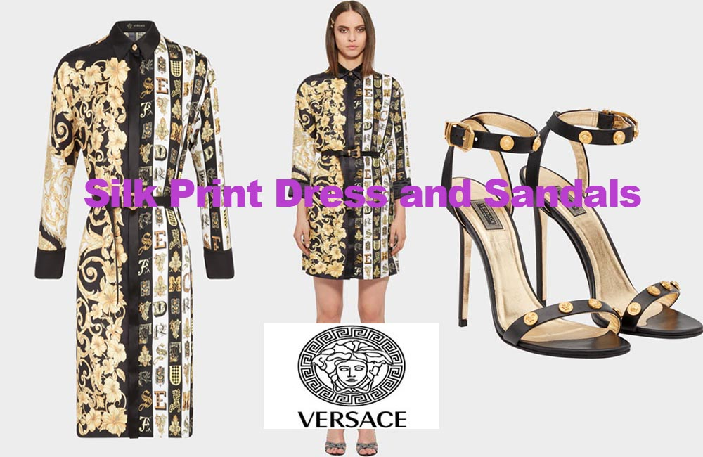 Silk twill dress and sandals from Versace