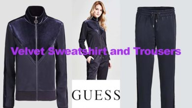 Velvet sweatshirt and trousers from Guess