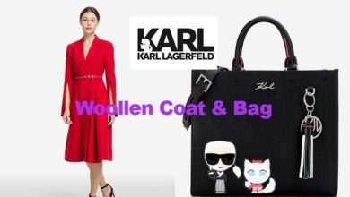 Woollen coat and bag from Karl Lagerfeld