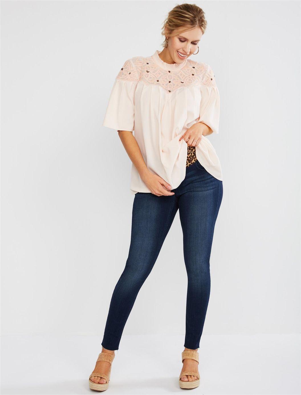 Jessica Simpson Leopard Print Front Panel Skinny Leg Maternity Jeans
