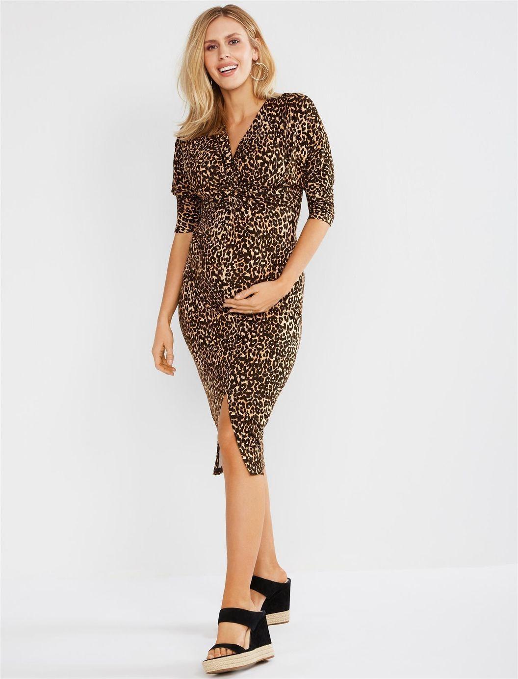 Jessica Simpson Twist Front Leopard Print Maternity Dress