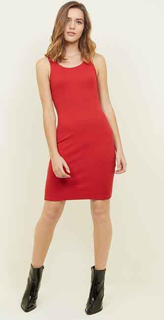 Red Rib Sleeveless Bodycon Mini Dress from New Look